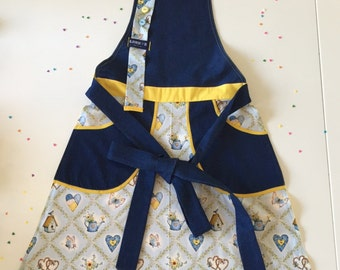 Outlet! -40% Denim Holly Hobbie light blue and sunny yellow retro style women's apron with deep pockets.