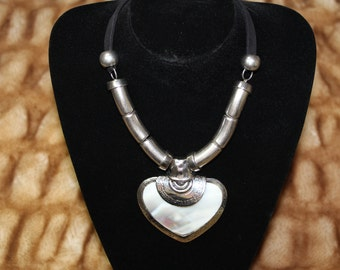 Mother of Pearl Heart Charm Art of Statement Necklace