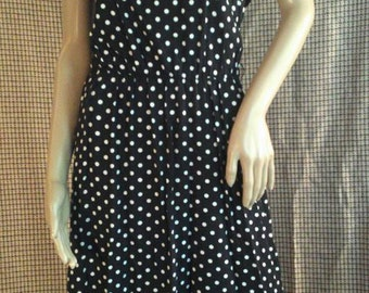 vintage black and white poka dot dress