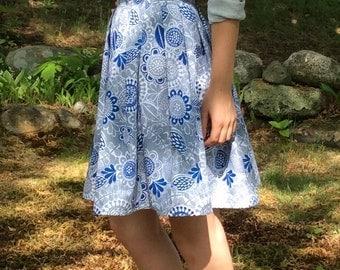 Summer pleated cotton skirt