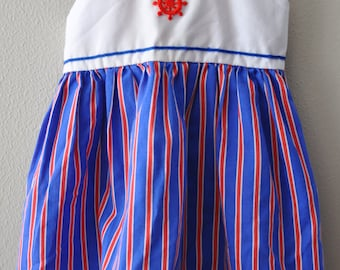Nautical Red, White and Blue Stripe Vintage Toddler Dress