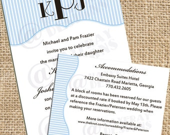 Printable Custom Casual and Cute Wedding Invitation and Accommodations Card