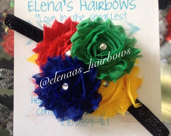 Uno inspired shabby flower headband