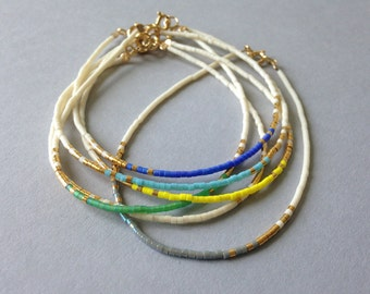 Tiny beaded layering bracelet / Ombre delicate bracelet