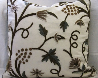 20 inch Cream crewel flower pillow cover