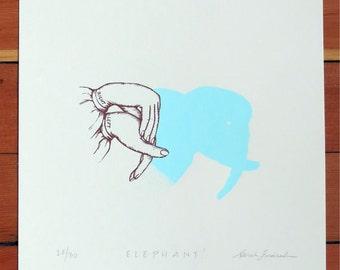 Elephant Shadow Puppet | elephant art, elephant art print, elephant artwork, elephant love, elephant art nursery