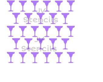 Margarita Glasses Stencil