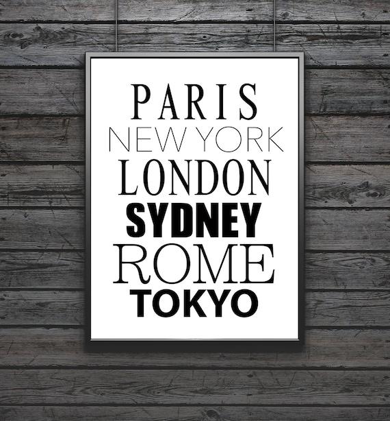 Sydney Travel Quotes: Cities Print Paris New York London Sydney Rome Tokyo