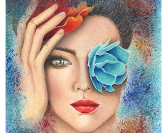 Frida Kahlo print inspiration, Abstract art prints, Mixed media art, Portrait art print, Abstract art painting