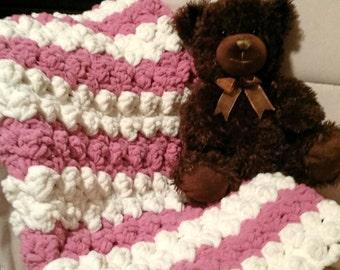 Handmade Crochet Baby Pink and Cream Bubble Blanket~Nursery Blanket~Extra Soft~Extra Fluffy