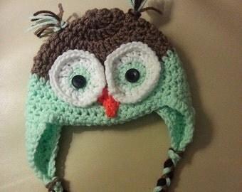 ANSON hoo loves ya baby owl hat with braids