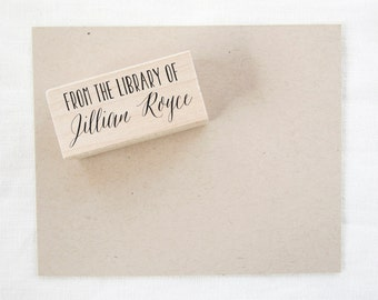 Bookplate Stamp - From The Library Of - book stamp - calligraphy bookplate - calligraphy stamp - custom stamp - teacher gift Z1058