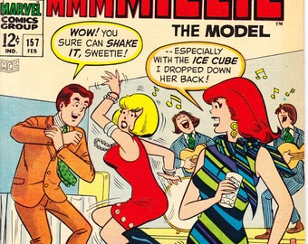 Millie the Model 157, Dancing comic book, Fashion, Romance, Love, Blonde Bombshell, Style, Chili. Marvel Comics from 1968 in VF (8.0)