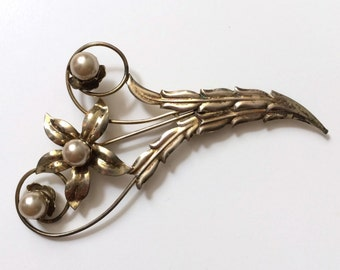 Sterling Silver Floral Pin with Pearls
