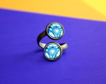 Handmade Iron man Ring, Arc reactor Double Ring, gift for Her Him, Ring jewelry