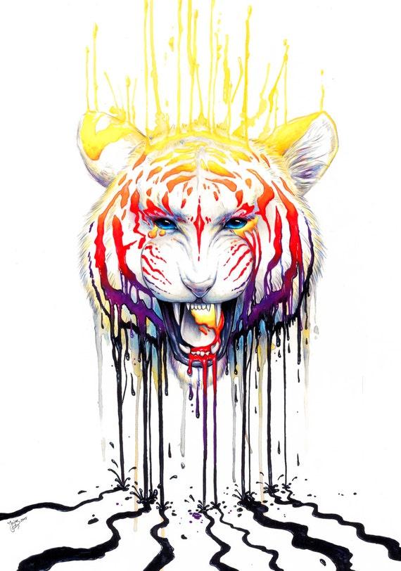 Décoloration - signé Art Print - peinture de tigre coloré par Jonas Jödicke