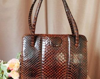 Vintage 1950's Snakeskin Handbag