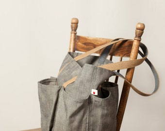 grey linen-look tote, everyday, oversized, women's bag, durable outdoor fabric, pockets