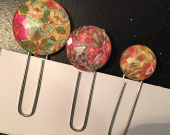 3 Floral Paperclip Bookmarks