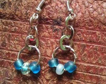 blue loop drop earrings