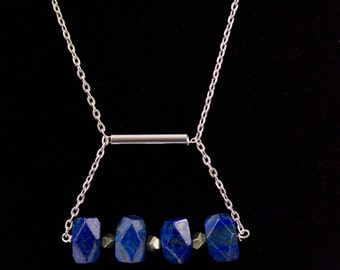Lapis lazuli and pyrite modern pendant