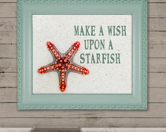 Printable Beach Wall Art, Starfish Printable Art, Make A Wish Upon A Starfish Art, Digital Art, Beach Summer Quote, Starfish Art, Ocean Art
