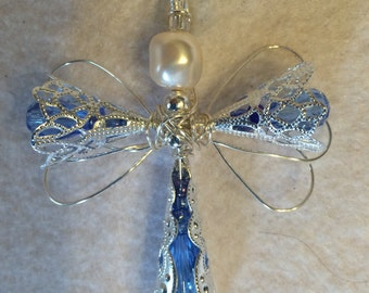 Angel Cross Pendant, Med blue crystal and silver