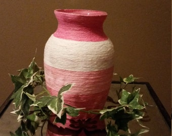 Pink Striped Yarn Wrapped Vase, Yarn Wrapped Vase, Yarn Vase, Pink Yarn Wrapped Vase, Wrapped Vase, Yarn-Wrapped Vase