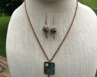 Copper green patina square necklace set