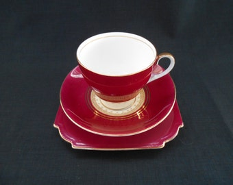 Vintage Aynsley Tea Cup & Plate Trio Burgundy and Gold 1960's -   #00011