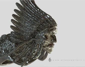 Native American Red Indian Chief Portrait Sterling Silver Ring