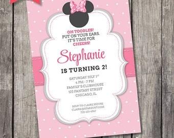 Minnie Mouse, Invitation, Printable, Kids Party, Personalized, Invite, Creative, Model SD001