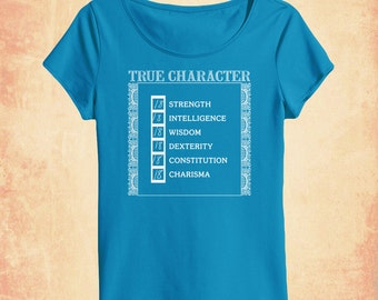 True Character women's scoopneck t-shirt inspired by Dungeons & Dragons and RPGs