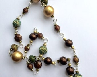 Link Necklace of Chocolate, Turquoise and Gold