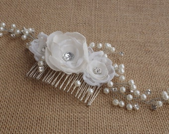 Wedding comb bridal hair accessory rinestones wedding hair comb crystal hair comb blush bridal comb ivory hair comb flower hair comb