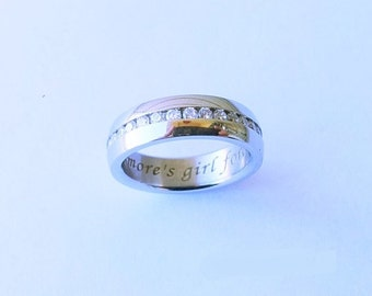Personalized Wedding Band Stainless Steel engagement hidden message engraved names dates