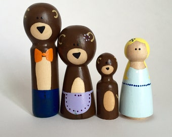 Goldilocks and the Three Bears Peg Dolls - Wood Dolls - Wood Toys