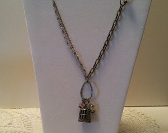 Silver Metal Birdcage Charm Necklace