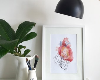 Heart Beats Watercolour Print