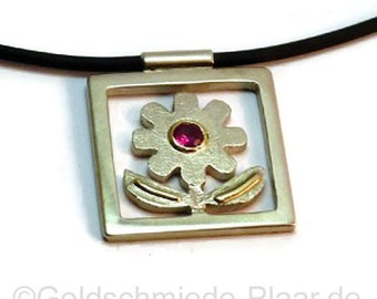 Silver, flower part with Ruby and gold chain necklace