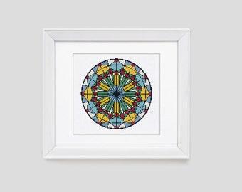 Stained glass cross stitch pattern, modern cross stitch pattern, counted cross stitch pattern, stained glass cross stitch pdf pattern