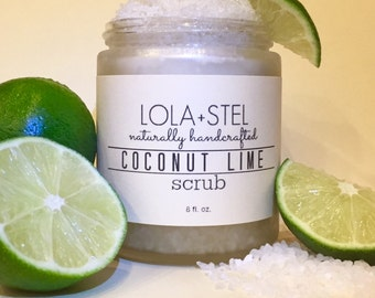 Coconut Lime All Natural Scrub, Salt Scrub, Sugar Scrub, Exfoliating Scrub, Body Scrub, Smoothing Scrub, Moisturizing Scrub, Body Polish