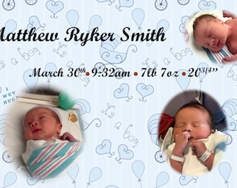 Baby Boy Announcement Digital Download