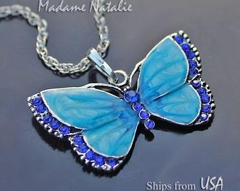 Blue Butterfly Pendant, Blue Rhinestone Pendant, Blue Enamel Butterfly Pendant, Blue and Silver Butterfly, Fashion Jewelry Butterfly