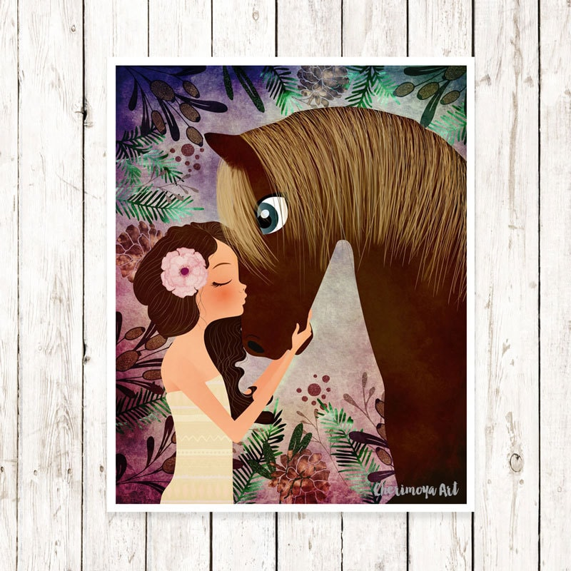 Horse artwork girl and horse print baby girl nursery decor zoom negle Choice Image