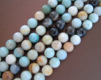 Amazonite, Amazonite Beads, Natural Gemstones, Natural Gemstone Beads, Beautiful Beads, Multicolor Beads Smooth Stones Round Beads 10mm Bead