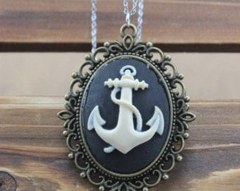 anchor necklace antique steampunk jewelry vintage style friendship gift N860A