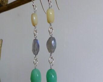 Long Summer Gemstone Dangle Earrings
