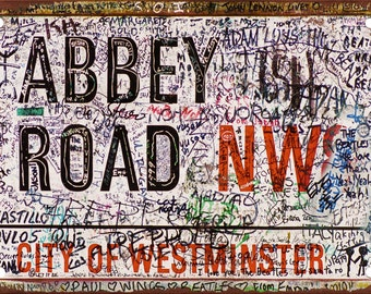 Abbey Road Defaced Sign Vintage Look Reproduction Metal Sign