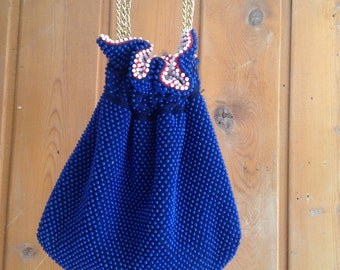 4th of July Red White Blue Reversible Beaded Purse with Gold Chain Strap